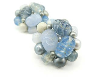 Vintage Blue Cluster Earrings, Glass Beads, Lucite Beads, Made in Japan, Clip Ons