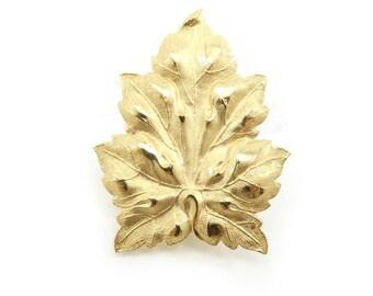 Vintage Leaf Brooch, Gold Tone, Stamped Metal