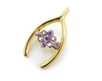 Vintage Lucky Wishbone Brooch, Aurora Borealis, Rhinestones, Gold Tone