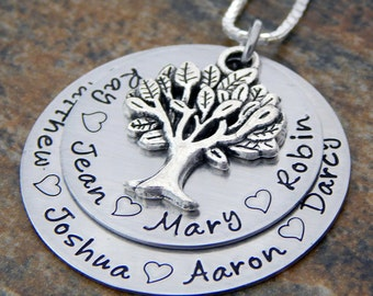 Family Tree Necklace - Personalized Mother's Necklace - Mom Necklace with Kids Names - Kids Name Necklace - Layered Pendant with Tree Charm