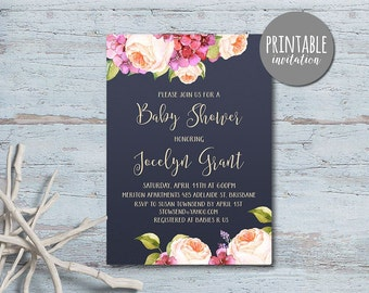 Floral Baby Shower Invitation Girl Baby Shower Invitation, Boho Baby Shower Invitation, Printable Baby Shower Invitation Spring Pink & navy