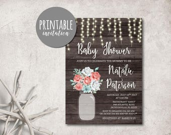 Girl Baby Shower Invitation Floral Baby Shower Invitation Printable, Coral Mint Baby shower Invitation  Rustic Mason jar baby shower invite