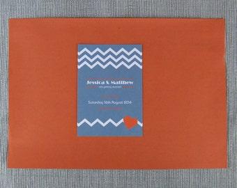 Geometric Chevron Wedding Save the Date card