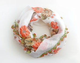 White floral scarf -  Boho scarf Floral scarf Cotton scarf Turkish scarf Turkish oya scarf Yemeni scarf Square scarf Christmas gifts