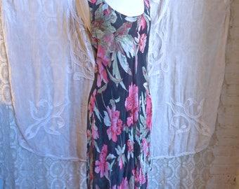 Floral Handkerchief Hem Silk Chiffon Dress