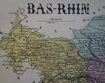 1883 antique map of Bas-Rhin departement France - beautiful old hand colored print - Strasbourg Haguenau Schiltigheim vintage poster - 9x11