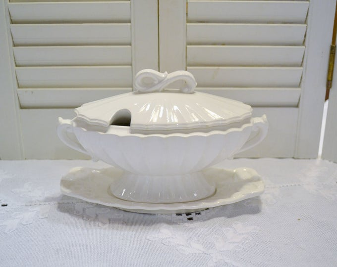 Vintage Gravy Boat with Lid White Ceramic Attached Drip Plate Ornate Details PanchosPorch
