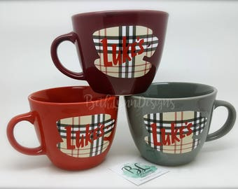 Luke's Diner Inspired Big Mug | Ivy League PLAID Collection | Stoneware Mug | Professional Layered Vinyl Decal | Gilmore Girls Inspired