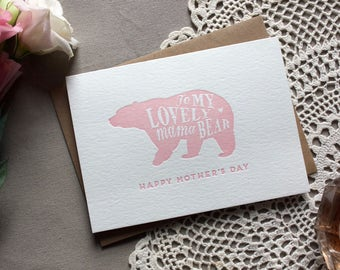Letterpress Mama Bear Mother's Day Card