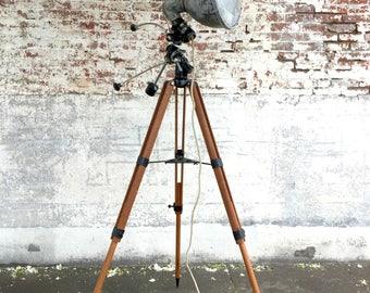 Crouse Hinds Spotlight, Tasco Telescope Tripod, Nautical Spotlight, Wood Nautical Lamp, Tripod Floor Lamp, Crouse Hinds, Wooden Tripod