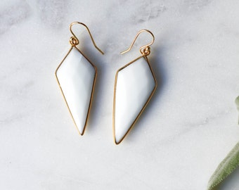 Gold + White Agate Earrings