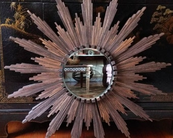 "Sunburst Mirror in dark walnut stain (appx 32"" diameter)"