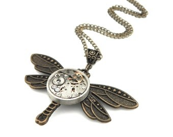 Rustic Clockwork Dragonfly Necklace -  Steampunk Watch Dragonfly