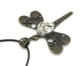 Vintage Watch Edwardian Steampunk Necklace - Mechanical Dragonfly Pendant Bronze Filigree WIngs