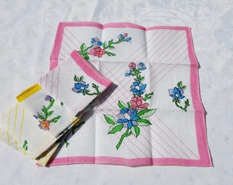 french vintage Handkerchiefs ,  set of 5  , floral decor, pink and yellow hankies, rustic handkerchief