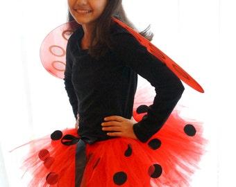 Lady Bug Tutu - Red Tutu - Black Dots
