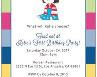 Korean Hanbok Girl Birthday Invitation Dol Card