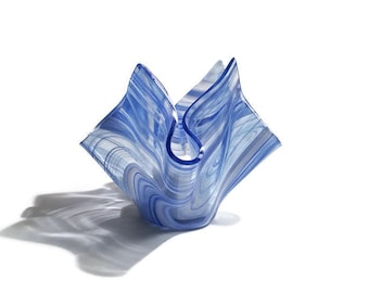 Small Handkerchief Style Artisan Glass Candle Holder in Blue White and Clear Swirl