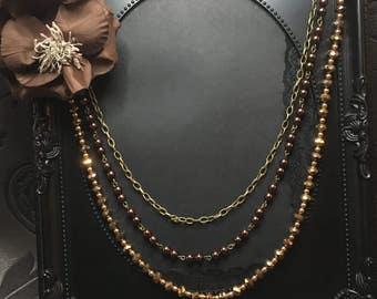 Big Flower Necklace, Brown Flower Necklace, Brown Bridal, Necklace with Flower, Brown Layer Necklace, Brown Beaded Necklace, Flower Jewelry