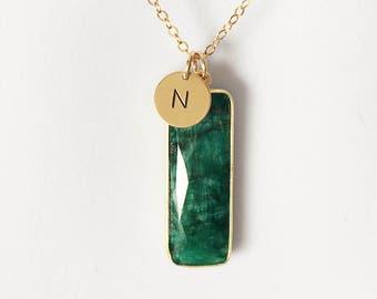 Emerald Jewelry, Emerald Necklace, Emerald Birthstone, Birthstone Necklace, May Birthstone Jewelry, monogram
