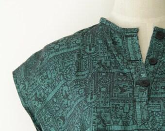 Jade green silk shirt. Vintage green silk top. Emerald green Thai silk top. Green silk button up. Thai silk patterned top. Boxy silk top