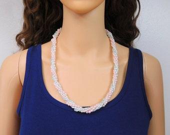 Pastel Pearl Twist Necklace Mint Green Light Pink White Small Pearl Twist Vintage Necklace 23 Inch Pearl Twist Necklace Jewelry