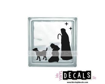 Nativity Scene (Shepherds) - Christmas Vinyl Lettering for Glass Blocks - Craft Decals - Baby Jesus