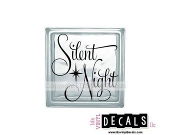 Silent Night - Christmas Vinyl Lettering for Glass Blocks - Vinyl Decals for Crafts