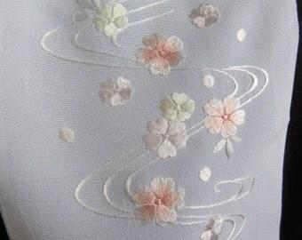 Han-eri for kimono, Japanese, vintage, scarf, embroidery of sakura(cherry blossoms)