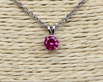 Lab Pink Sapphire Pendant & Necklace available in Titanium or white gold