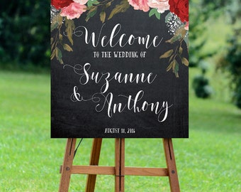 red pink wedding sign, red floral welcome sign, welcome wedding sign, digital wedding sign, chalkboard welcome sign, YOU PRINT, red floral
