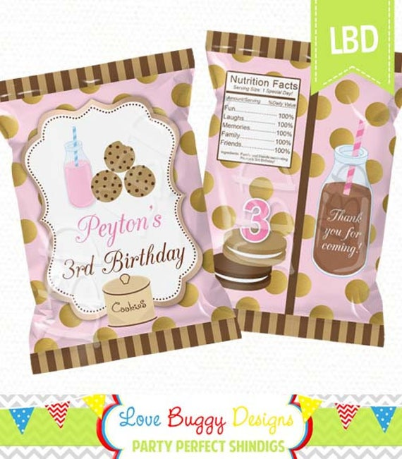 Milk And Cookies Birthday Chip Bag Printable Candy Bag Chip