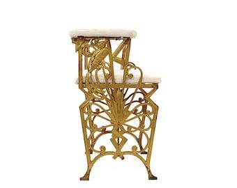 Vintage 1900's Antique Gold Art Nouveau Cast Iron Bird + Star Vanity Stool Seat Bench