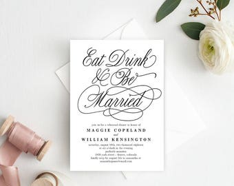 Eat Drink And Be Married Rehearsal Dinner Invitation - Printable Invitation - Editable PDF Template