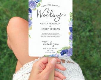 Programs - Fan Program - Hydrangea Wedding Program Template - Printable DIY Editable Wedding Program - DIY Program - Instant Download