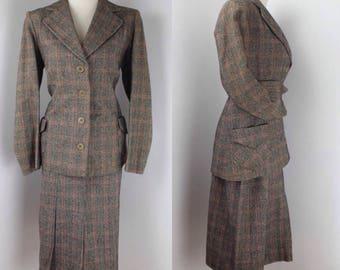 Original 1940's British Wool Check Suit – UK 8 or 10