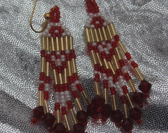 Native Hand Beaded Earrings from Alaska -- Red