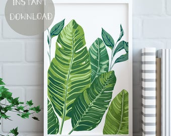 Banana Leaf Wall Art, Banana Leaves, Printable Banana Leaf Print, Greenery Trend, Tropical Decor, Plant Poster