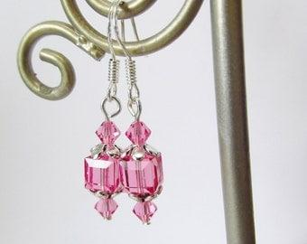 Swarovski Crystal Elements Earrings - Pink Cube Bead Earrings - Sterling Silver Beaded Dangle Earrings - Handmade Jewelry Gifts for Her