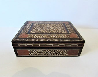 Vintage Inlaid Marquetry Wood Box With Some Damage.