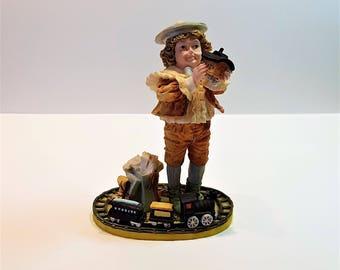 Gifts Of Happiness, Maud Humphrey Bogart, Collectible Figurine, Victorian Figurine, Enesco Corporation, Victorian Boy, Train Figurine