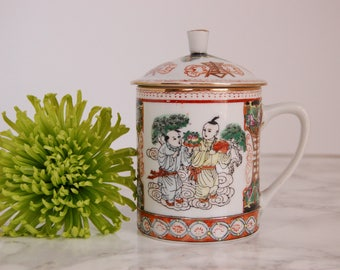 Porcelain Chinese Covered Tea Cup - Lidded Tea Cup - Chinese Cup