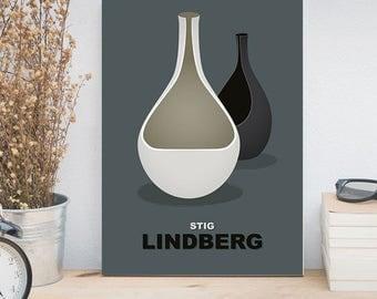Contemporary decor, Stig Lindberg vases, Mid century modern art poster, Scandinavian design, Swedish style, IKEA Pictures