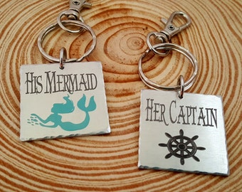 Couples Engraved Key Chains | His Mermaid and Her Captain |  2 Key Chains