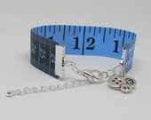 Blue Tape Measure Bracelet Reversible Look Bangle Quilter Basket Idea Quirky Gifts Tailor Present Steamstress Jewerly Gifts for Her