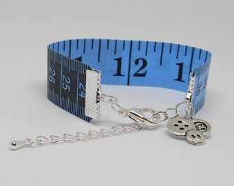 Blue Tape Measure Bracelet, Reversible Look Bangle, Quilter Basket Idea, Quirky Gifts, Tailor Present, Steamstress Jewerly, Gifts for Her
