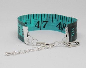 Reversible Bracelet, Tape Measure Jewerly, Green Toned Ruler, Dressmaker Token, I Love Sewing, Crafty Present Idea, Sewing Basket Gift,