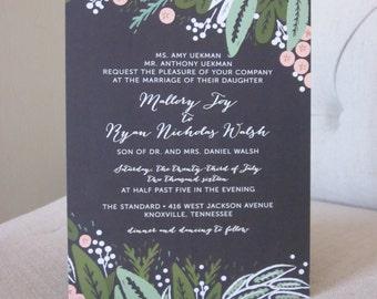 100 - 5x7 Floral Wedding Invitations + RSVP Card
