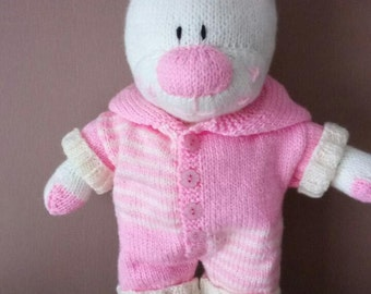 Hand knitted 16 inch Teddy Bear in outfit.