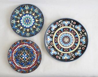 Boho oriental plate set - Decorative plates - Wall mandala - Wall hangings - Luxury gifts - Mandala art